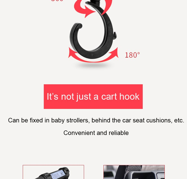2 PCS/LOT Baby Stroller Accessories Hook Multifunction Baby Stroller Black High Quality Plastic Hook